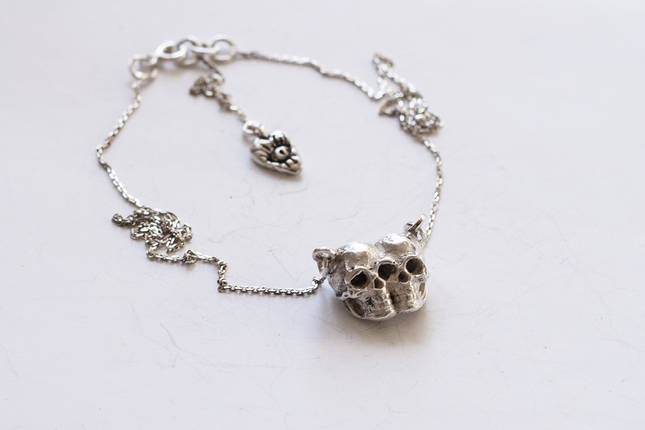 Тонка срібна підвіска з черепами Death Twins, 925 проба, фото 2