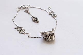 Тонка срібна підвіска з черепами Death Twins, 925 проба
