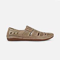 Летние мужские туфли повседневные  из натуральной кожи бежевые, фото 1