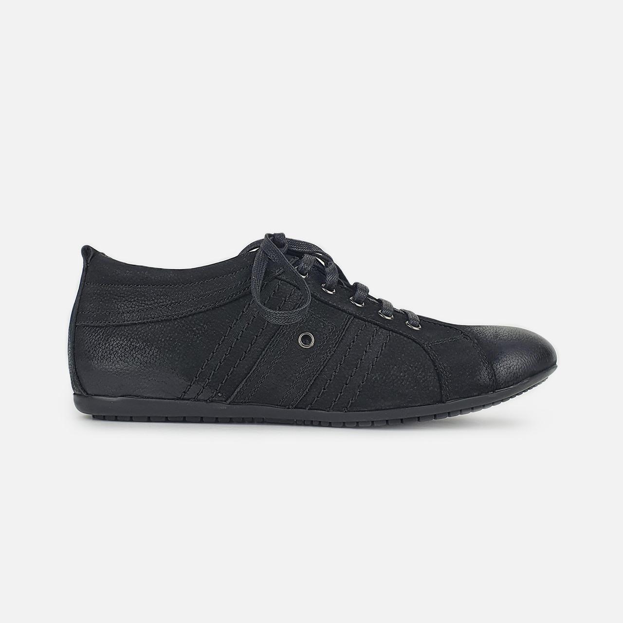Туфлі чоловічі повсякденні весна/осінь з натурального нубука чорні