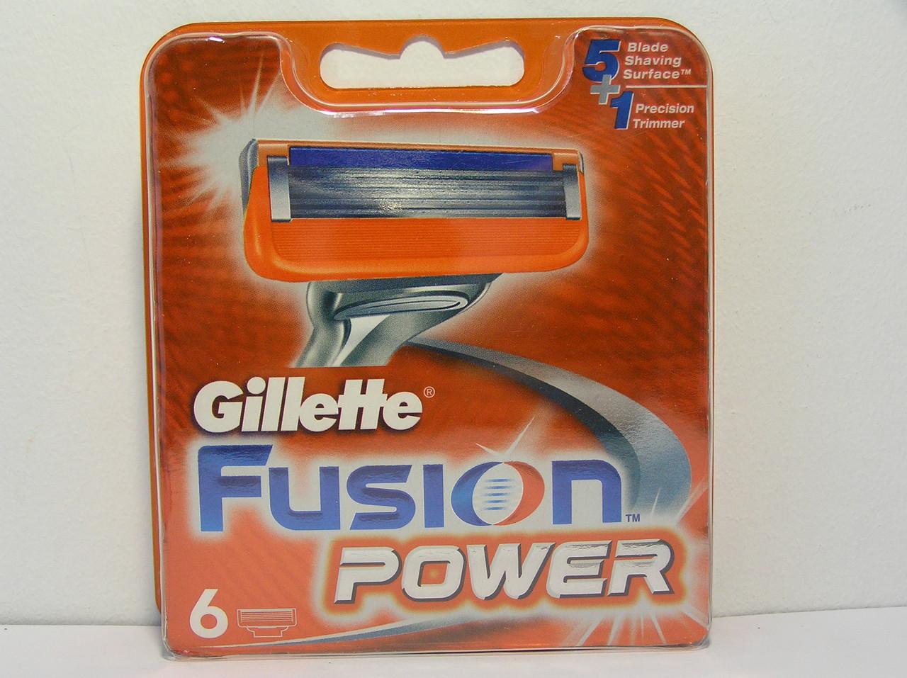 Кассеты для бритья мужские Gillette Fusion Power 6 шт. ( Жиллетт Фюжин павер оригинал Германия )