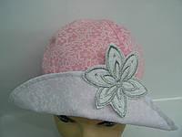 Шляпа с цветочком розовая, фото 1