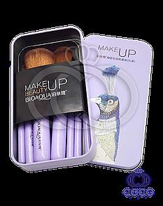 Набір кистей для макіяжу в металевій коробці BIOAQUA 7 штук (павич)