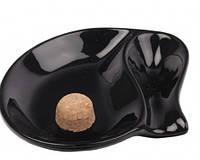 Пепельница для 1 трубки 0200210 стекло/черное/глянец, овал
