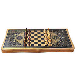 Ігровий набір 3в1 нарди і шахи та шашки (62х62 см) В6535