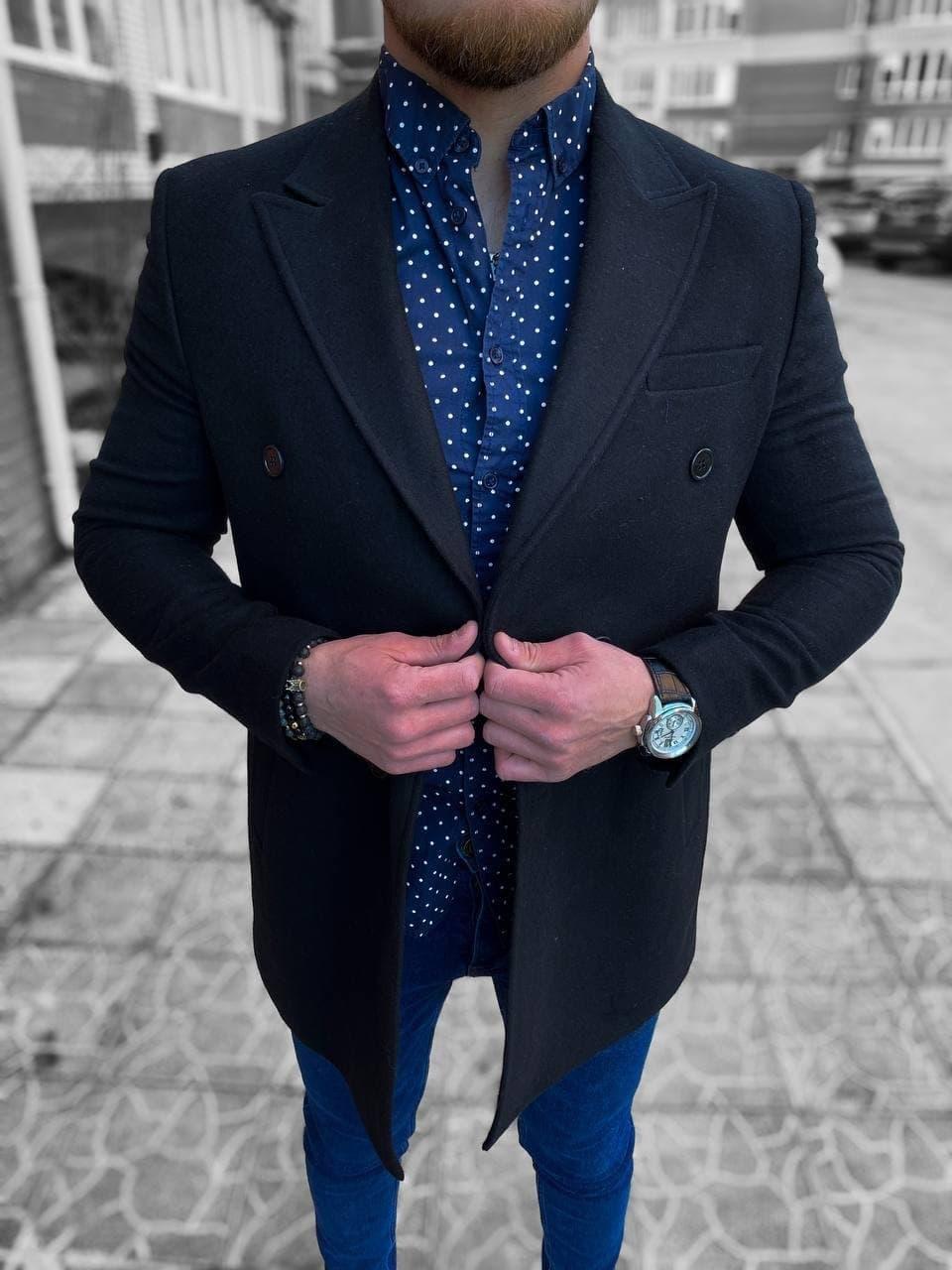 😜 Пальто - Мужское пальто на осень \ чоловіче пальто двобортне чорне