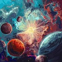 Картина по номерам з фарбами металік 50*50 см Навколо сонця ТМ Ідейка