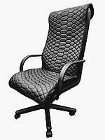 Стеганый чехол на офисное кресло экокожа черный 00891