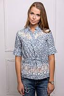 Блуза с белым кружевом цвет голубой Кэтти