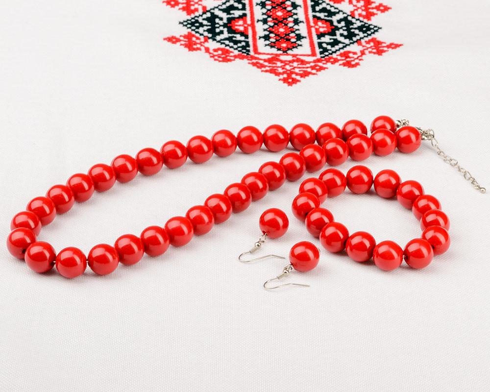 Комплект бижутерии Бусы+браслет (красные)