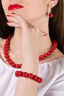 Комплект бижутерии Бусы+браслет (красные), фото 2