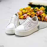 Кроссовки на платформе, белые из натуральной кожи, фото 4