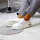Кроссовки на платформе, белые из натуральной кожи, фото 2