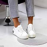 Кроссовки на платформе, белые из натуральной кожи, фото 5