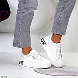 Кроссовки на платформе, белые из натуральной кожи, фото 10