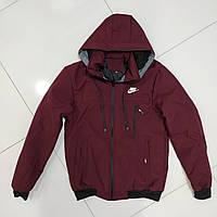 Зимова чоловіча куртка під гумку NIKE розмір норма 48-56,колір бордовий