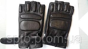 Перчатки тактические, кожа черные