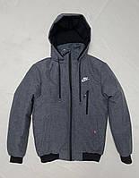 Зимова чоловіча куртка під гумку NIKE розмір норма 48-56,колір сірий