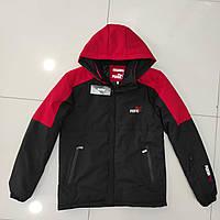 Зимова чоловіча куртка пряма PUMA розмір норма 48-56,колір чорна з червоним