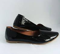 Женские туфли на низком ходу, натуральная кожа лак