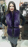 Фиолетовый жилет из натурального меха чернобурки, фото 1