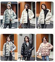 Блискуча коротка зимова жіноча куртка оверсайз, фото 1