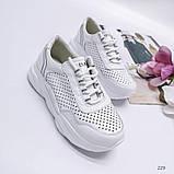 Белые кроссовки с перфорацией из натуральной кожи, фото 3
