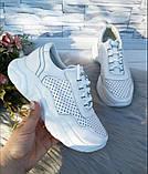 Белые кроссовки с перфорацией из натуральной кожи, фото 7