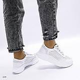 Белые кроссовки с перфорацией из натуральной кожи, фото 5