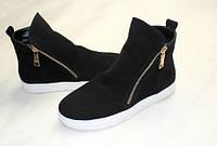 Женские замшевые зимние ботинки на низком ходу, подошва утолщенная., фото 1