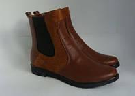 Женские ботинки с резинками, натуральная кожа + натуральный замш