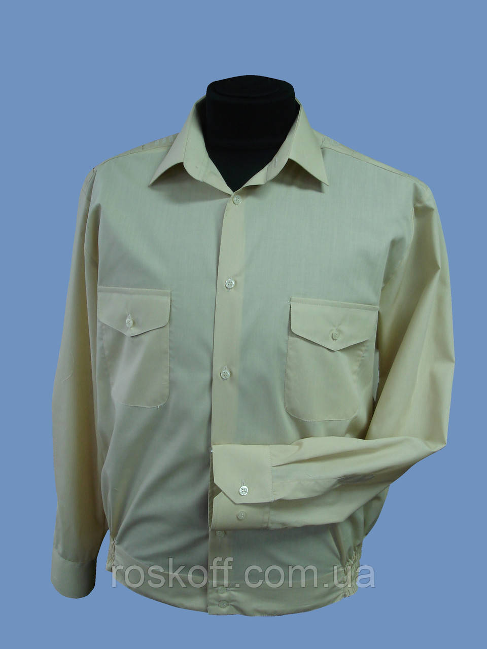 Форменная рубашка  бежевая с длинным рукавом