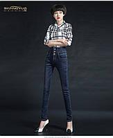 Тёплые джинсы с завышенной талией