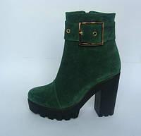 Женские ботинки на тракторной подошве из натурального замша зеленого цвета. Возможен отшив в дргих цветах, фото 1