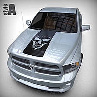 Виниловая наклейка на авто - Полоса - череп 50х98 см