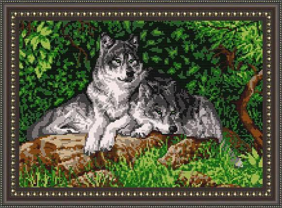 """Рисунок на ткани для вышивания бисером """"Волки"""", фото 2"""