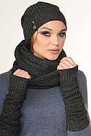 Женский удобный и нарядный двойной шарф-восьмерка черный