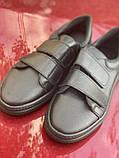 Черные кеды из натуральной кожи на липучках, фото 2