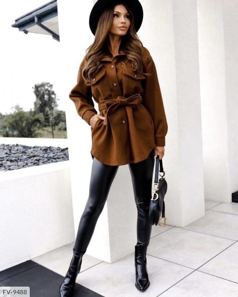 Жіноча коротке пальто-сорочка (Батал)