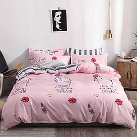 Комплект постельного белья полуторный с компаньоном S416 сатин люкс