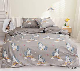 Комплект постельного белья полуторный с компаньоном S419 сатин люкс