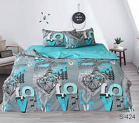 Комплект постельного белья полуторный с компаньоном S424 сатин люкс