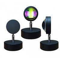Проекционная лампа LED Sunset для селфи Эффект солнца для съемки Светодиодная лампа еффект заката 16см