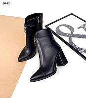 Женские зимние кожаные ботинки на каблуке  35-40 р чёрный, фото 1