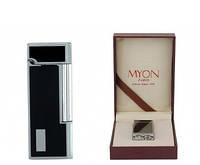 Зажигалка Myon 1821200 Elegance металл, газ/кремний, хром/черный лак