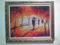 """Готовая картина стразами, полная выкладка """"Зонтик на двоих"""" Размер 5948см Код 198313"""