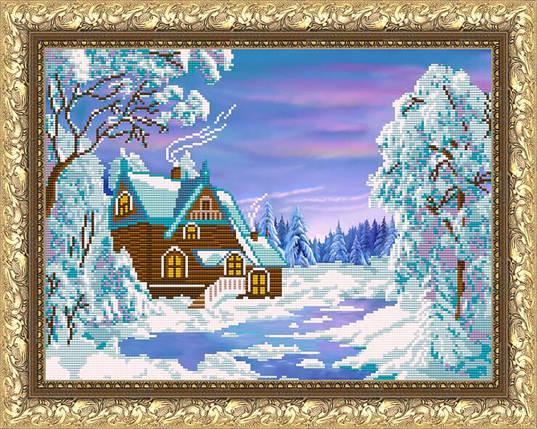 """Рисунок на ткани для вышивания бисером """"Зимний домик"""", фото 2"""