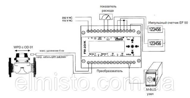 Пример подключения передатчика импульсов Reed Opto OD для счетчиков воды Sensus типа WP-Dynamic и WPD