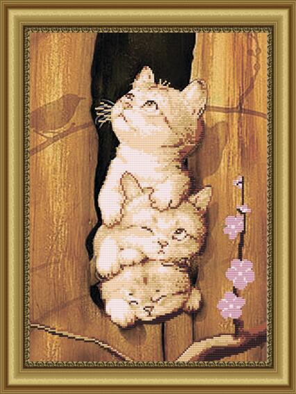 """Рисунок на ткани для вышивания бисером """"Это мы - коты"""""""