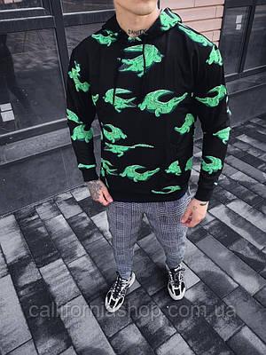 Мужской черный худи с крокодилом с капюшоном
